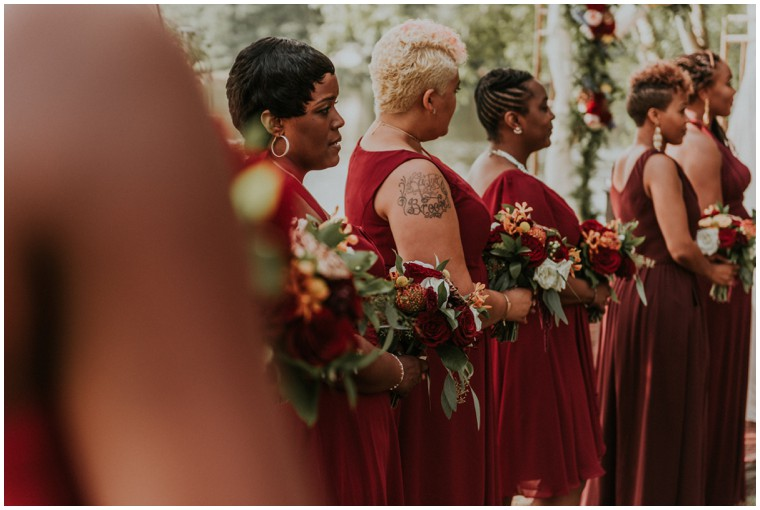 burgundy and oxblood bridesmaid dresses