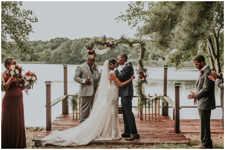 burgundy and cream waterfront ceremony arch