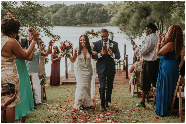 just married bride and groom waterfront ceremony