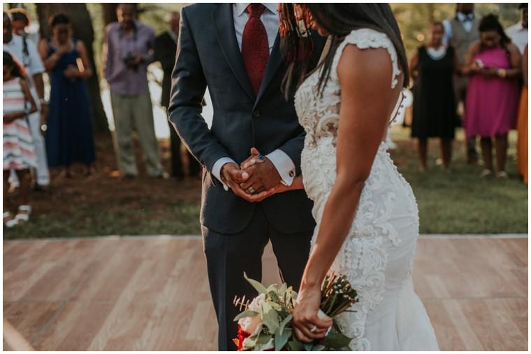 bride and groom first dance al fresco reception
