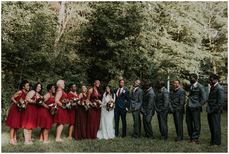 charcoal and oxblood wedding party