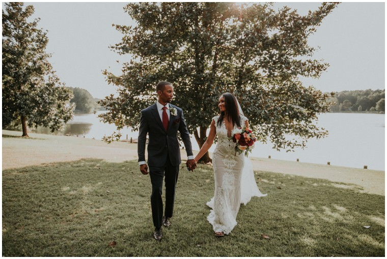 burgundy fall wedding, waterfront wedding
