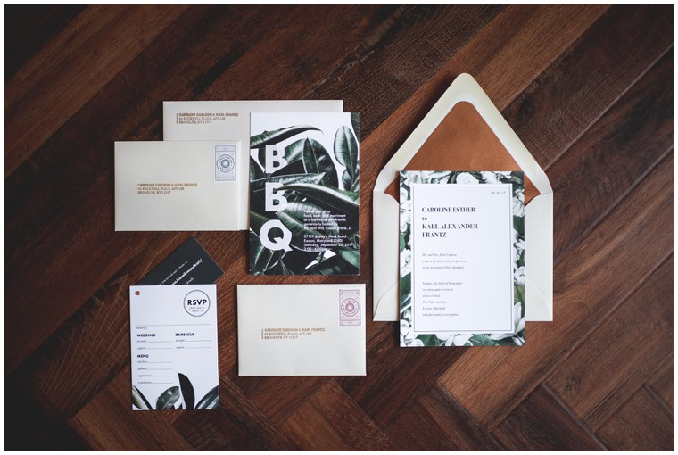 modern tropical greenery wedding invitations
