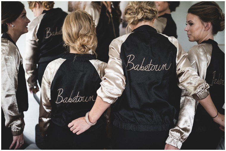 """babetown"" bridal getting ready bomber jackets"
