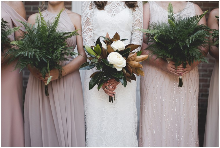 magnolia and fern bridal bouquets