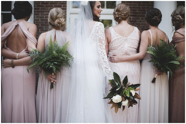 long sleeve graphic lace wedding dress, dusty pink bridesmaid dresses