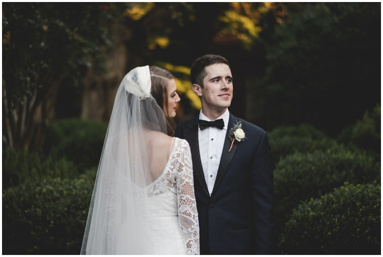 graphic lace wedding dress, classic long veil