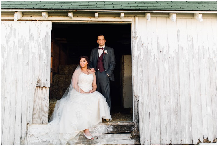 bride and groom rustic farm portrait
