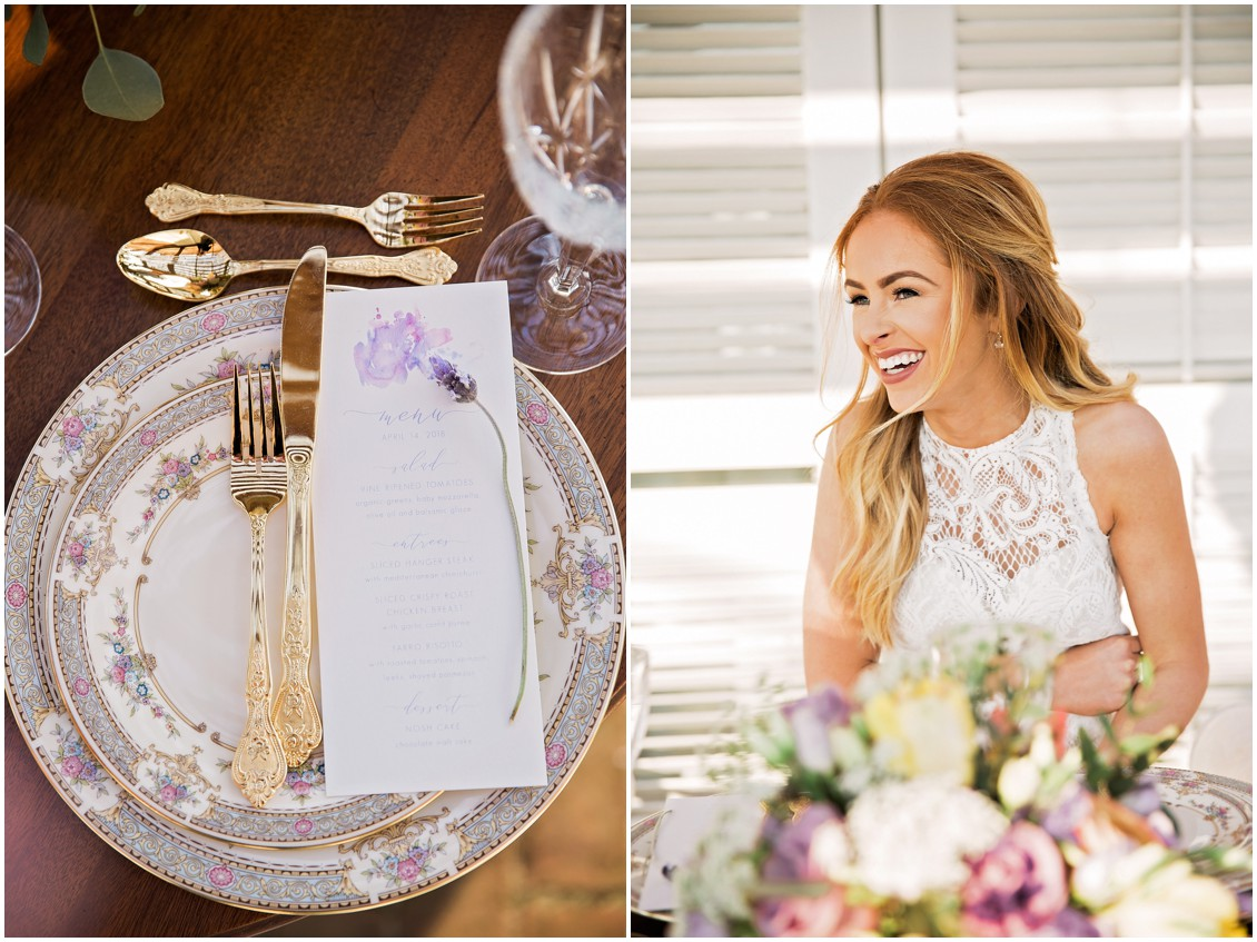 Garden Party Wedding Styled-Shoot featuring pastel table settings and purple flowers on Maryland's Eastern Shore
