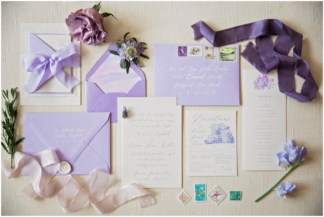 Purple wedding invitation suite for a Garden Party Wedding Styled-Shoot on Maryland's Eastern Shore