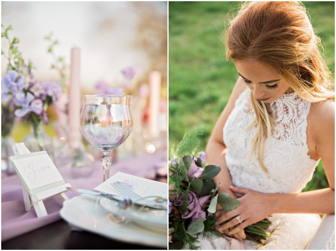 Beautiful bride poses with purple bouquet for a Garden Party Wedding Styled-Shoot on Maryland's Eastern Shore