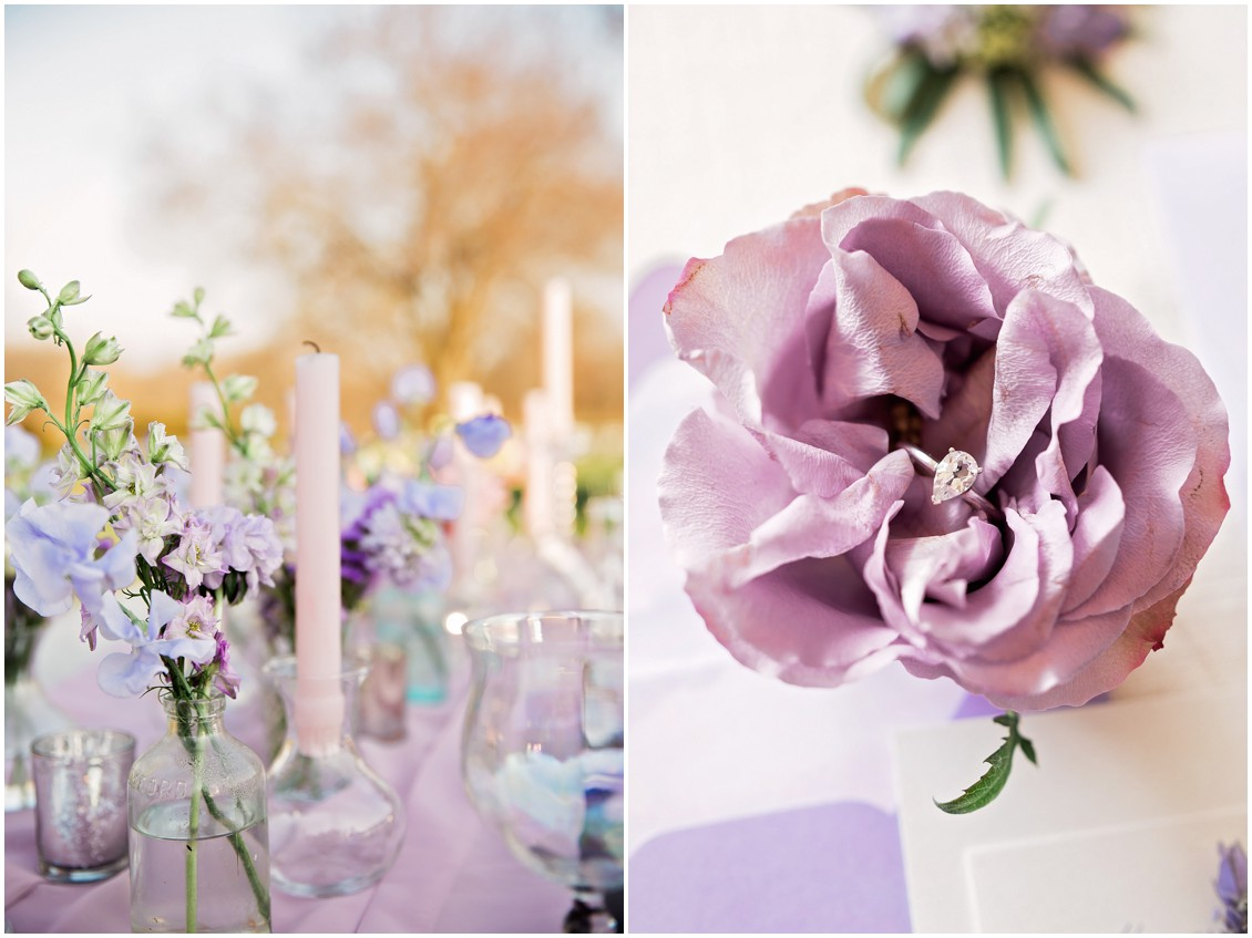 Pastel Purple details featured in a Garden Party inspired Wedding Styled-Shoot on Maryland's Eastern Shore