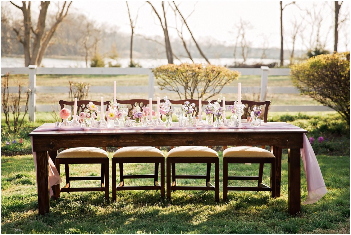 Outdoor Farm table-setting with pastel purple details for Garden Party Wedding Styled-Shoot on Maryland's Eastern Shore