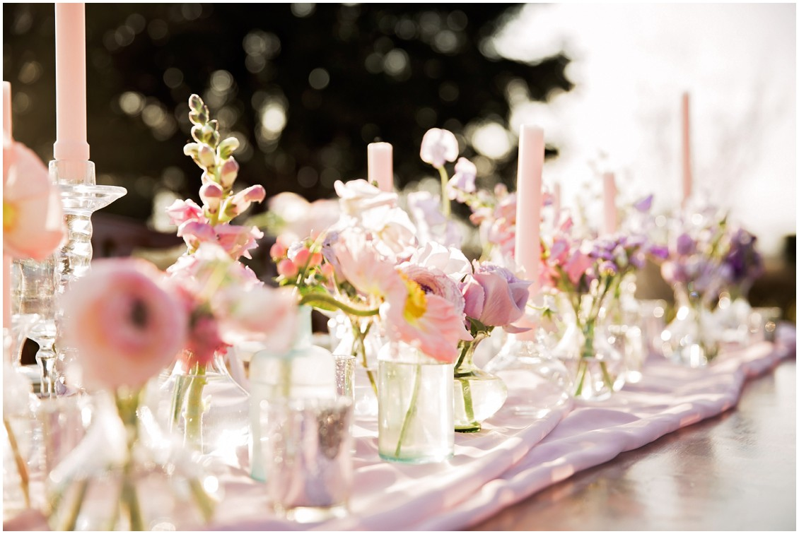 Pastel Floral center piece for Garden Party Wedding Styled-Shoot on Maryland's Eastern Shore