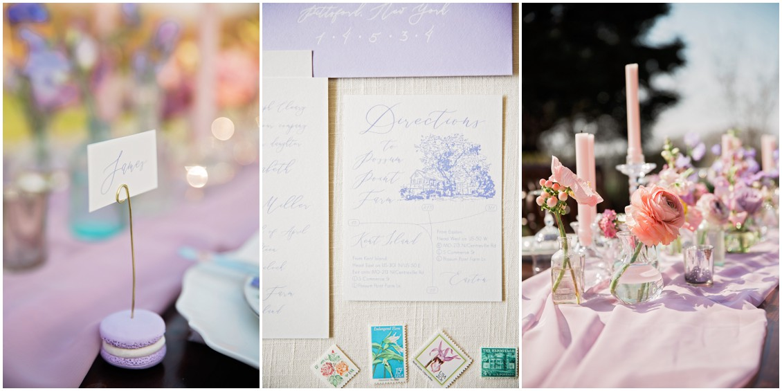 Pastel purple details of Garden Party Wedding Styled-Shoot on Maryland's Eastern Shore