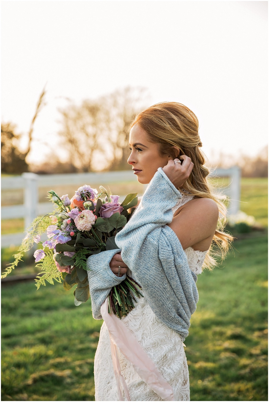 Beautiful bride poses with in chunky sweater for a Garden Party Wedding Styled-Shoot on Maryland's Eastern Shore