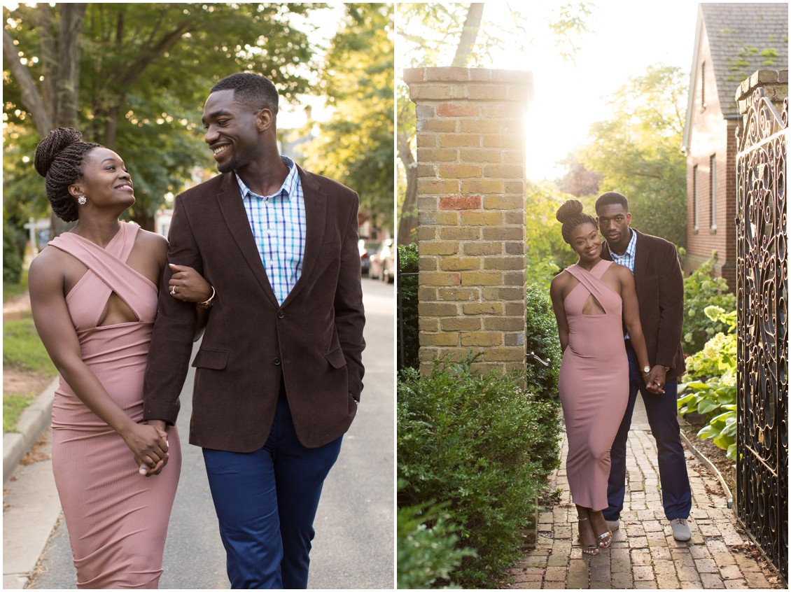 Young, attractive couple celebrate their engagement with a romantic walk through downtown Easton, Maryland.