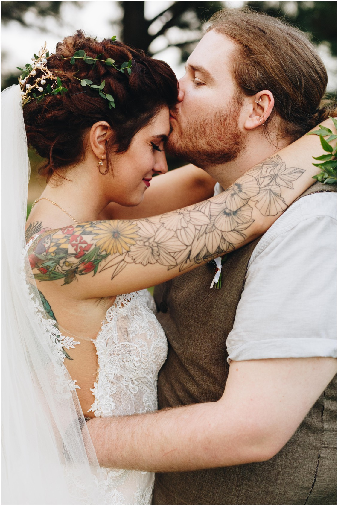 Tatted bride, bearded groom, and bride's hair by Hair Rehab. |Eastern Shore Wedding|