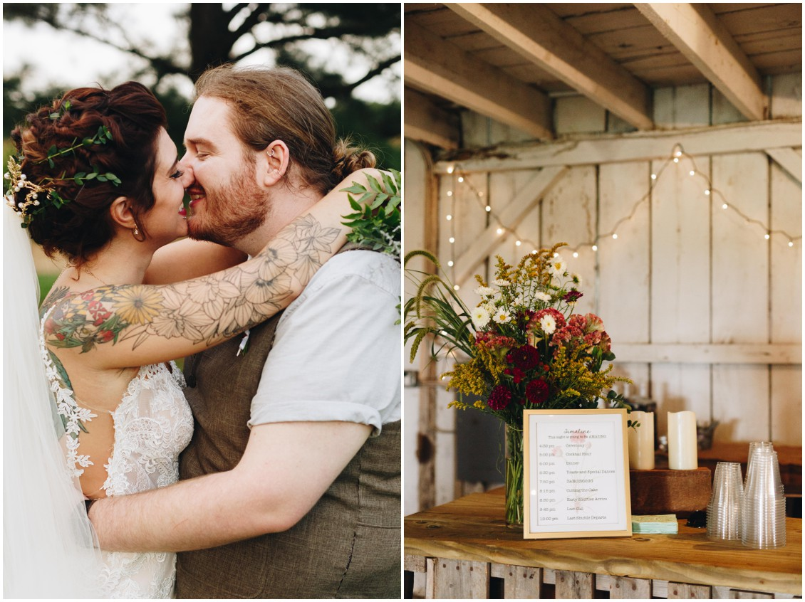 Tatted bride, hair by Hair Rehab, and flowers by Keleidoscope Custom Florals + Butterbee Farm. |Eastern Shore Wedding|