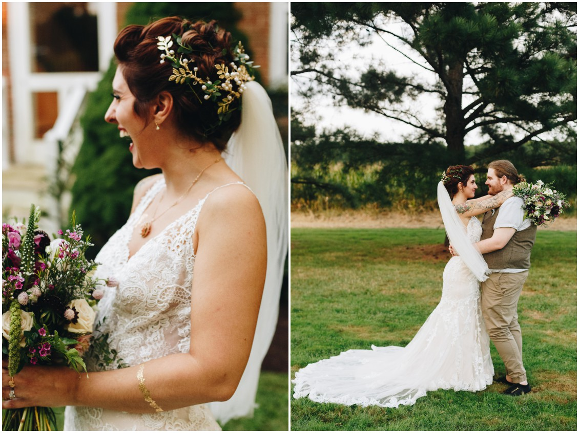 Bride's hair by Hair Rehab, flowers by Keleidoscope Custom Florals + Butterbee Farm, and flash tattoo. |Eastern Shore Wedding|