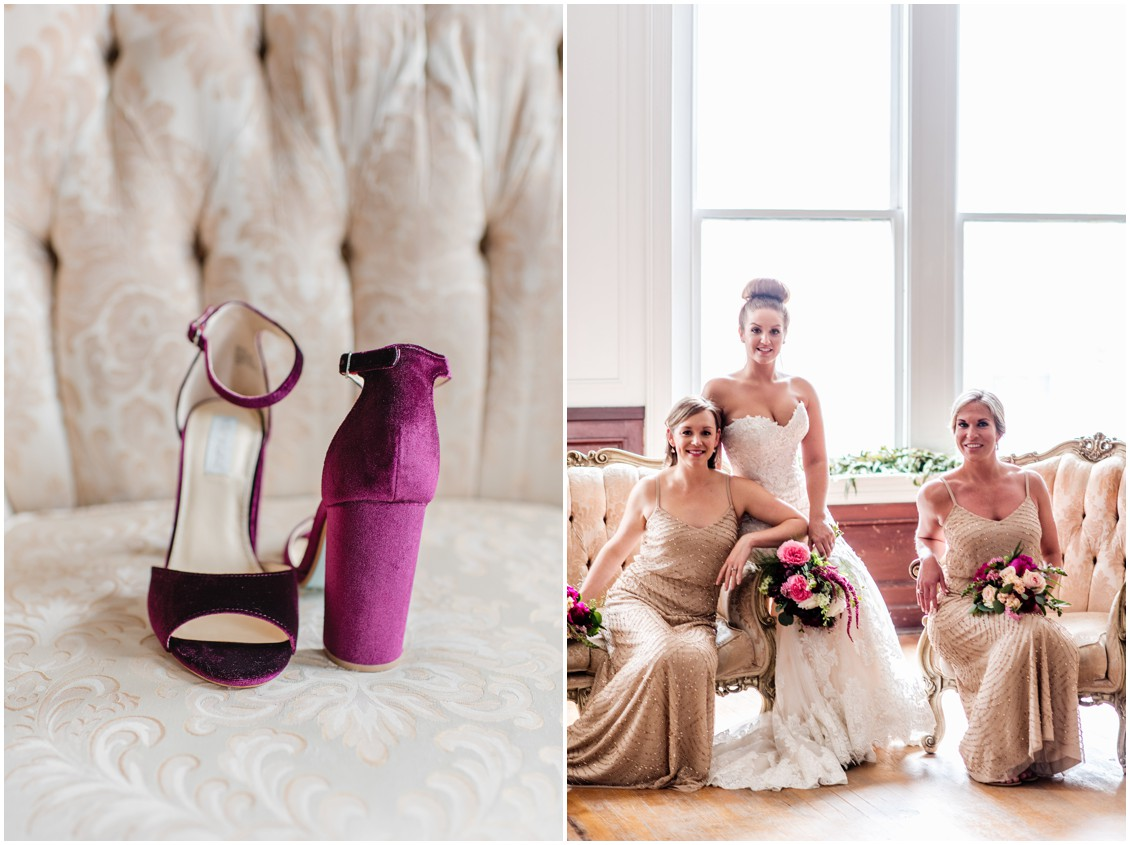 Velvet, fuchsia high-heels on a chair and the bride lounging with her bridesmaids . | My Eastern Shore Wedding |