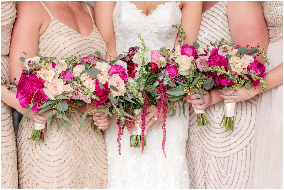 Sherwood Florist bouquets in hues of pink, beaded bridesmaids dresses and detailed wedding dress. | My Eastern Shore Wedding |