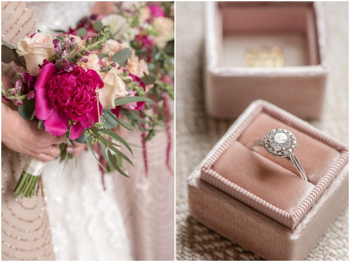 Sherwood Florist pink hued bouquets and the wedding ring in a dusty pink container. | My Eastern Shore Wedding |