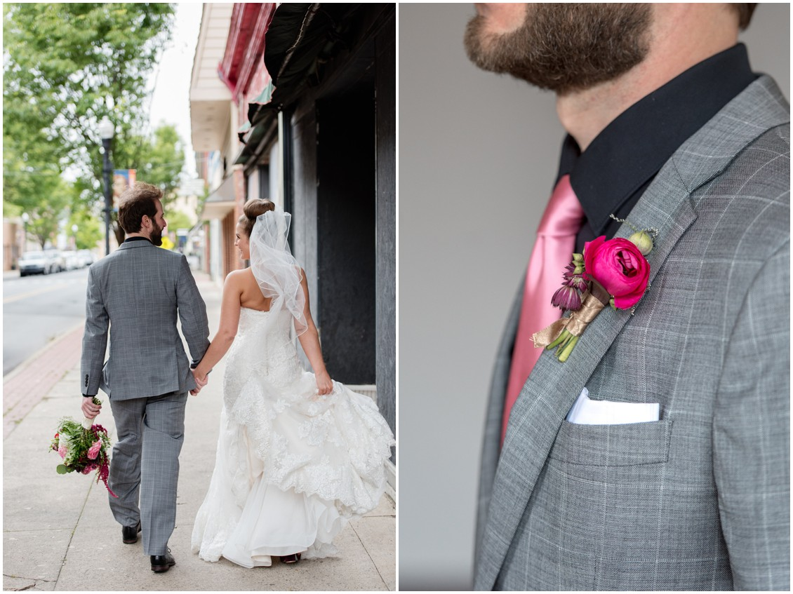 Bride and groom walking hand-in-hand down the sidewalk, groom's pink rose boutonniere. | My Eastern Shore Wedding |