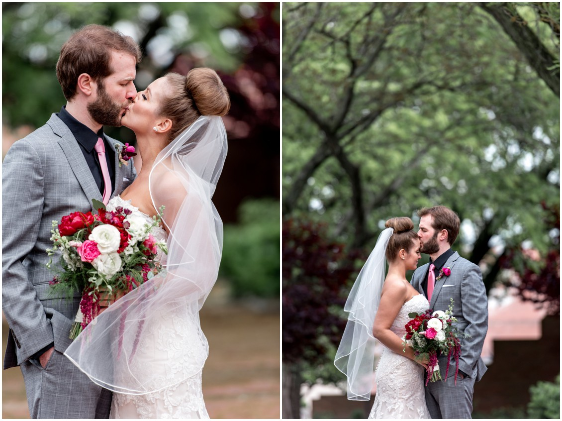 Bride and groom kissing, bride holding her Sherwood Florist bouquet. | My Eastern Shore Wedding |