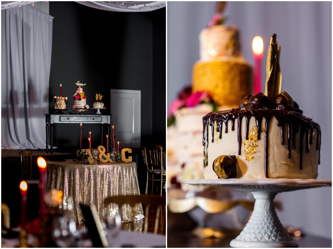 Jordan Fuchs wedding cake with dripping chocolate and gold detailing. | My Eastern Shore Wedding |