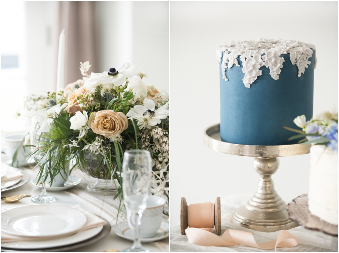 Navy wedding cake & table setting  | 5 Things to Consider When Choosing Your Wedding Cake Designer  | My Eastern Shore Wedding | Chef Steve Konopelski