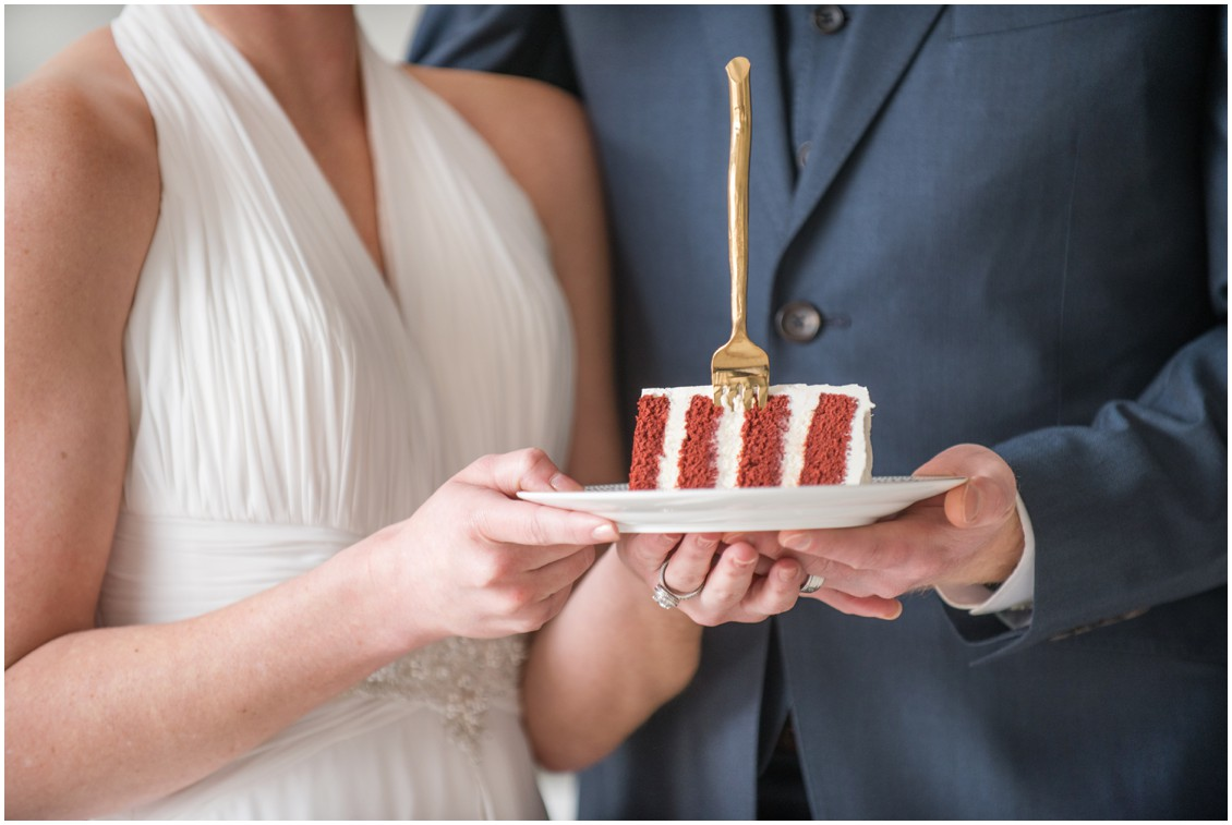 Bride and Groom Holding Wedding Cake   | 5 Things to Consider When Choosing Your Wedding Cake Designer  | My Eastern Shore Wedding | Chef Steve Konopelski