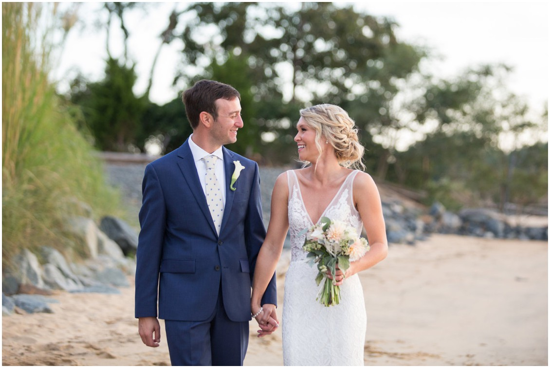 Bride and groom on the beach at Chesapeake Bay Beach Club. | My Eastern Shore Wedding |