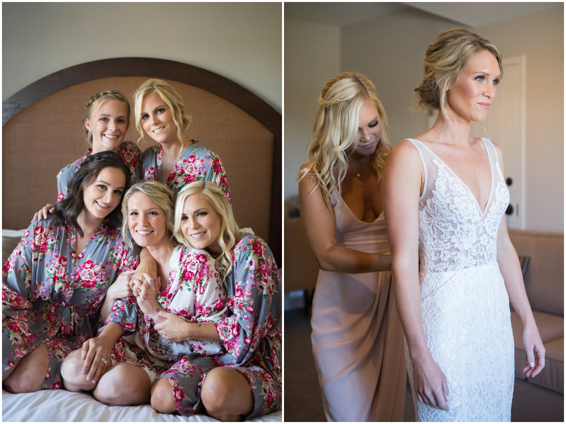 Bride with her bridesmaids, prepping for the wedding in floral bathrobes. | My Eastern Shore Wedding |