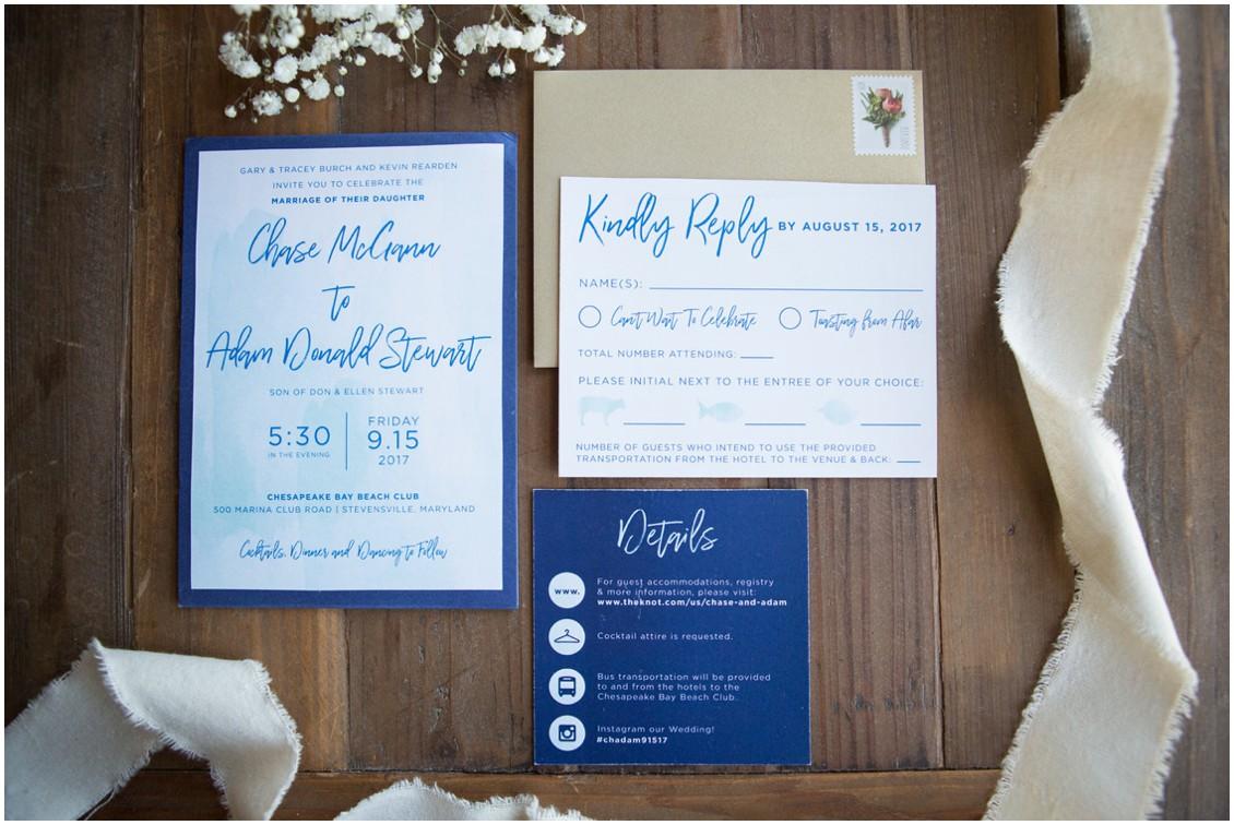White and blue Mayela Lopez Designs stationery. | My Eastern Shore Wedding |