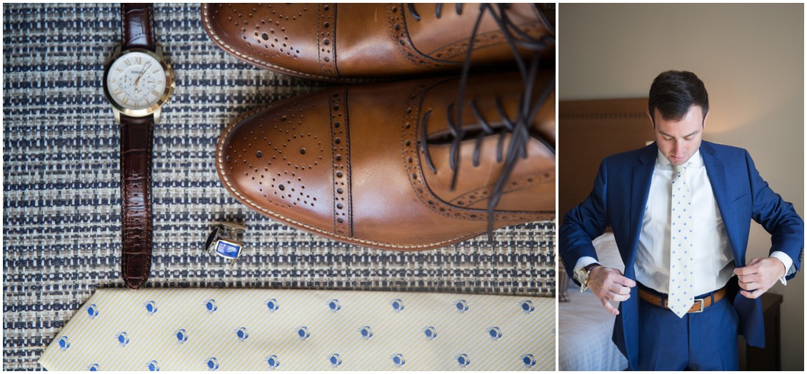 Groom's wedding details, watch, tie, cufflinks, and dress shoes. | My Eastern Shore Wedding |