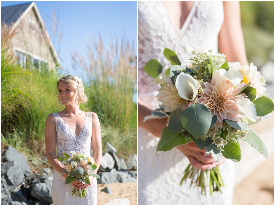Bride with her wedding bouquet by Lilac & Page on the beach. | My Eastern Shore Wedding |