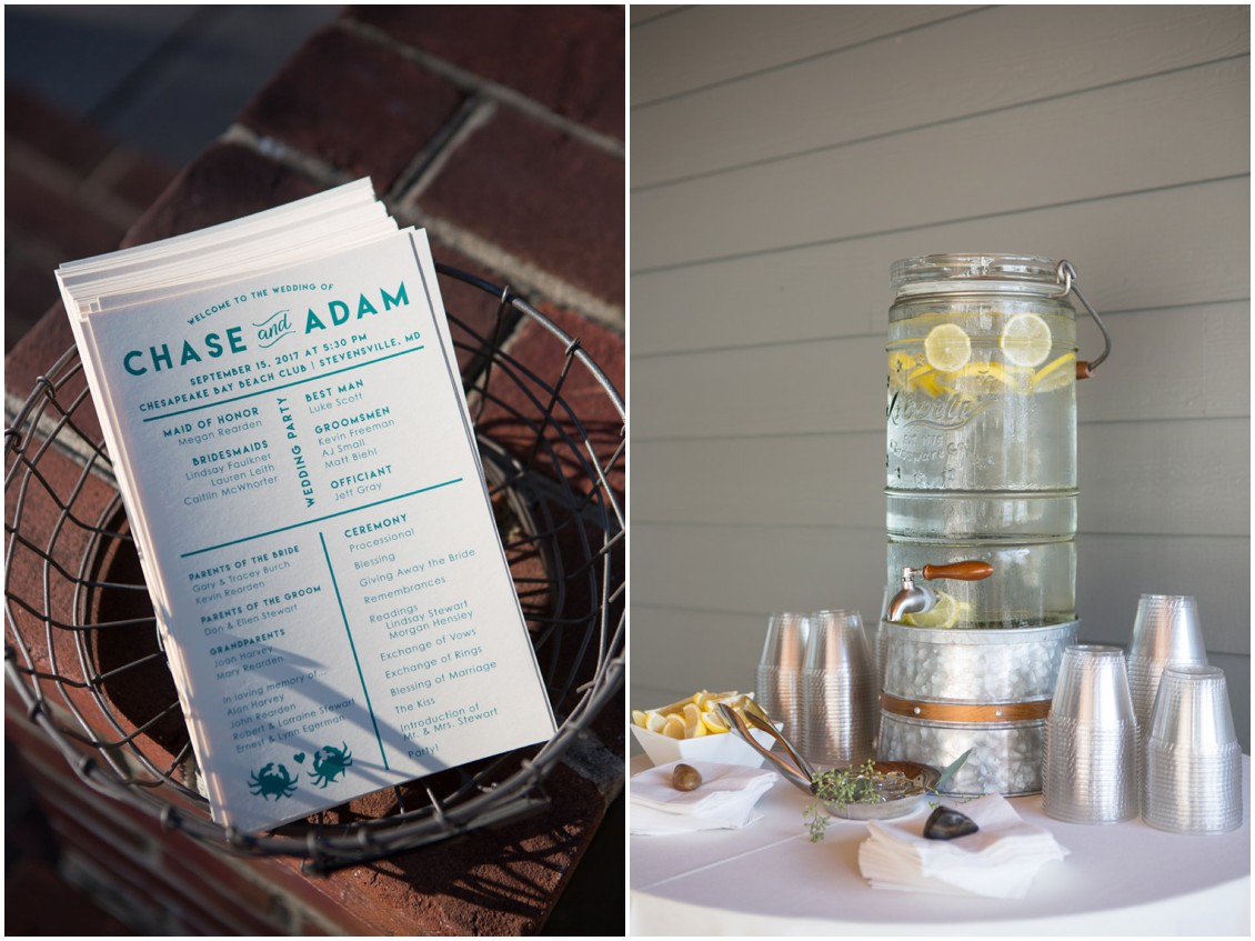 Glass Mason Jar lemon water dispenser and welcome wedding sheets. | My Eastern Shore Wedding |
