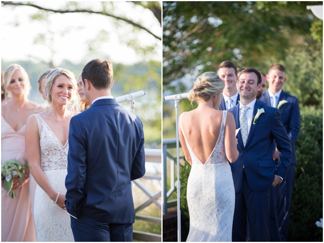 Bride and groom exchanging vows. | My Eastern Shore Wedding |