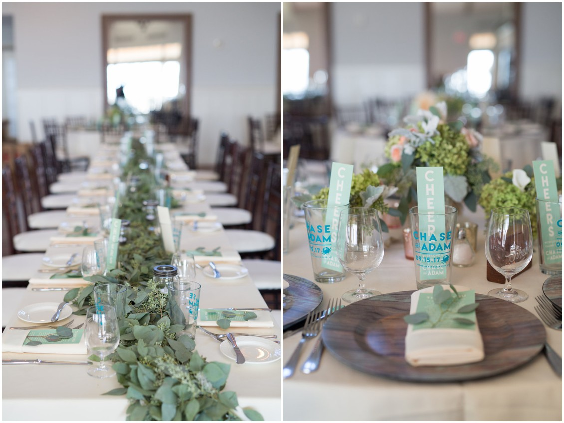 Decorated dining table at the Chesapeake Bay Beach Club. | My Eastern Shore Wedding |