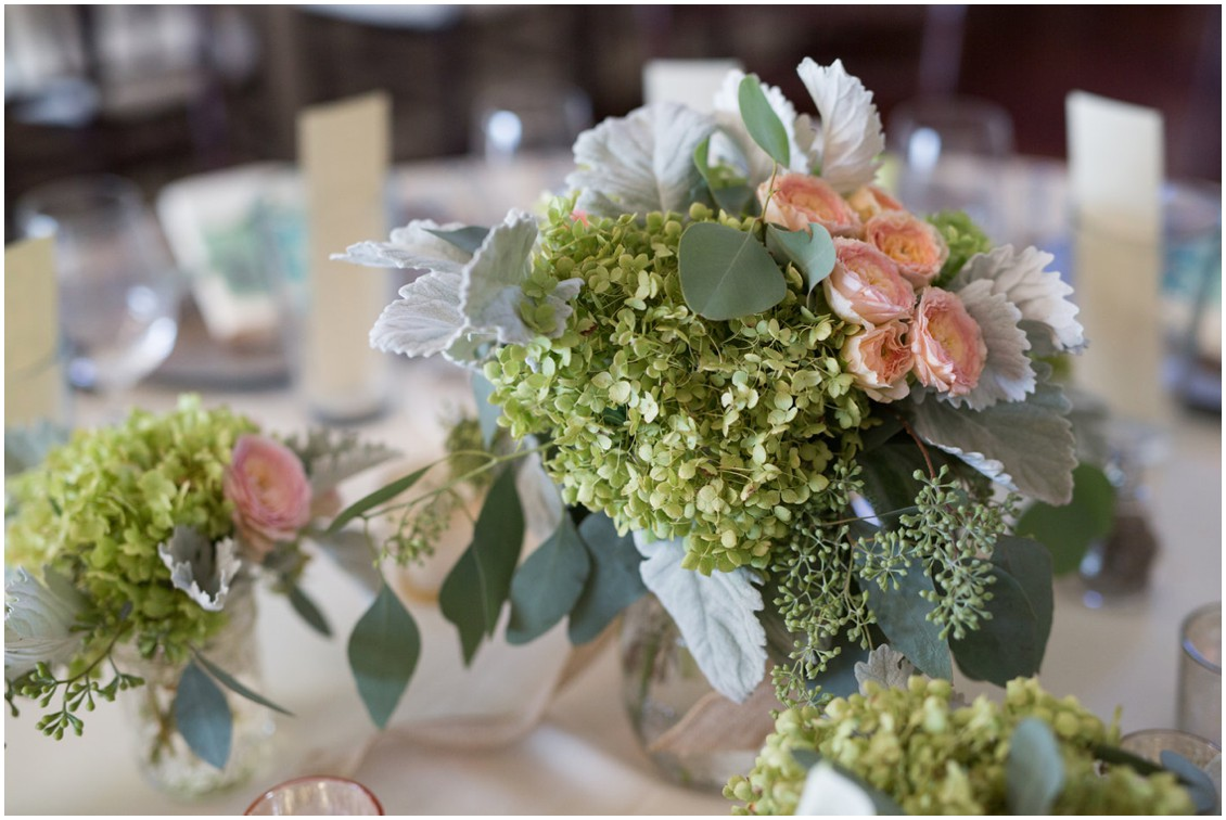 Natural floral arrangements on the dining table at the Chesapeake Bay Beach Club. | My Eastern Shore Wedding |