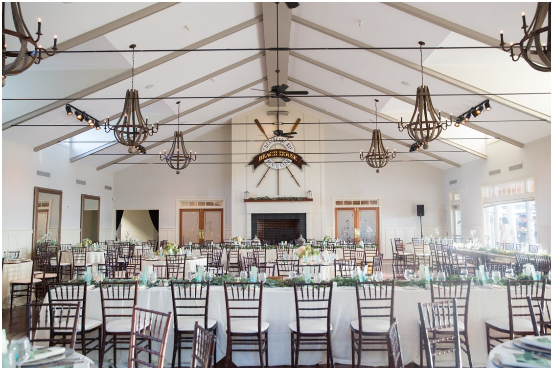 Decorated dining room at the Chesapeake Bay Beach Club. | My Eastern Shore Wedding |