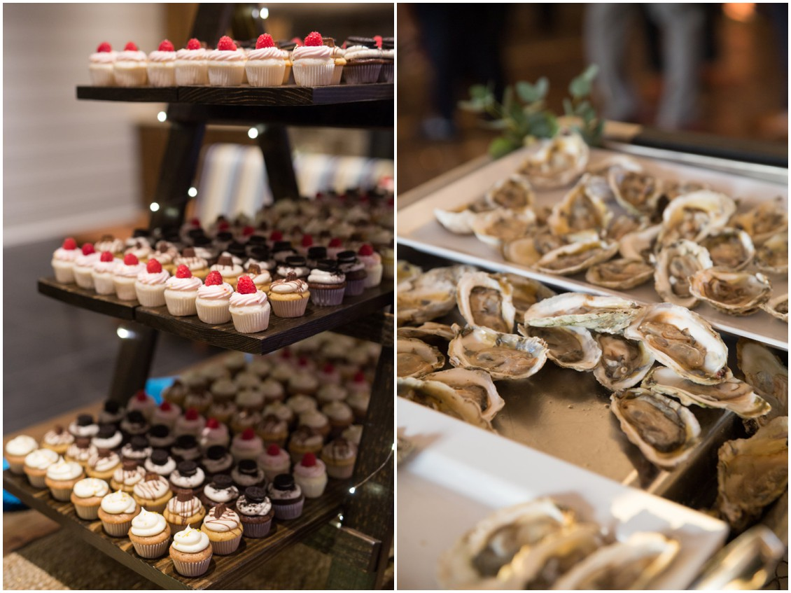 Mimi's Boutique Cupcake Company mini cupcakes and Chesapeake Bay Beach Club oysters. | My Eastern Shore Wedding |