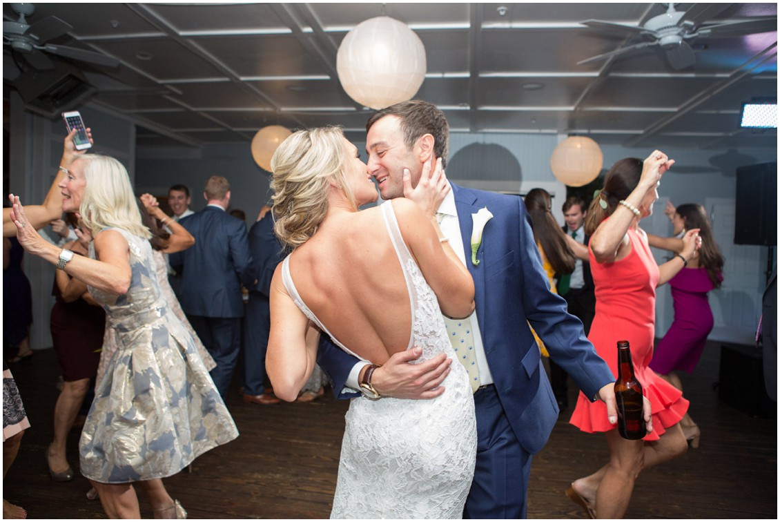 Bride and Groom dancing on the dance floor to band. | My Eastern Shore Wedding |