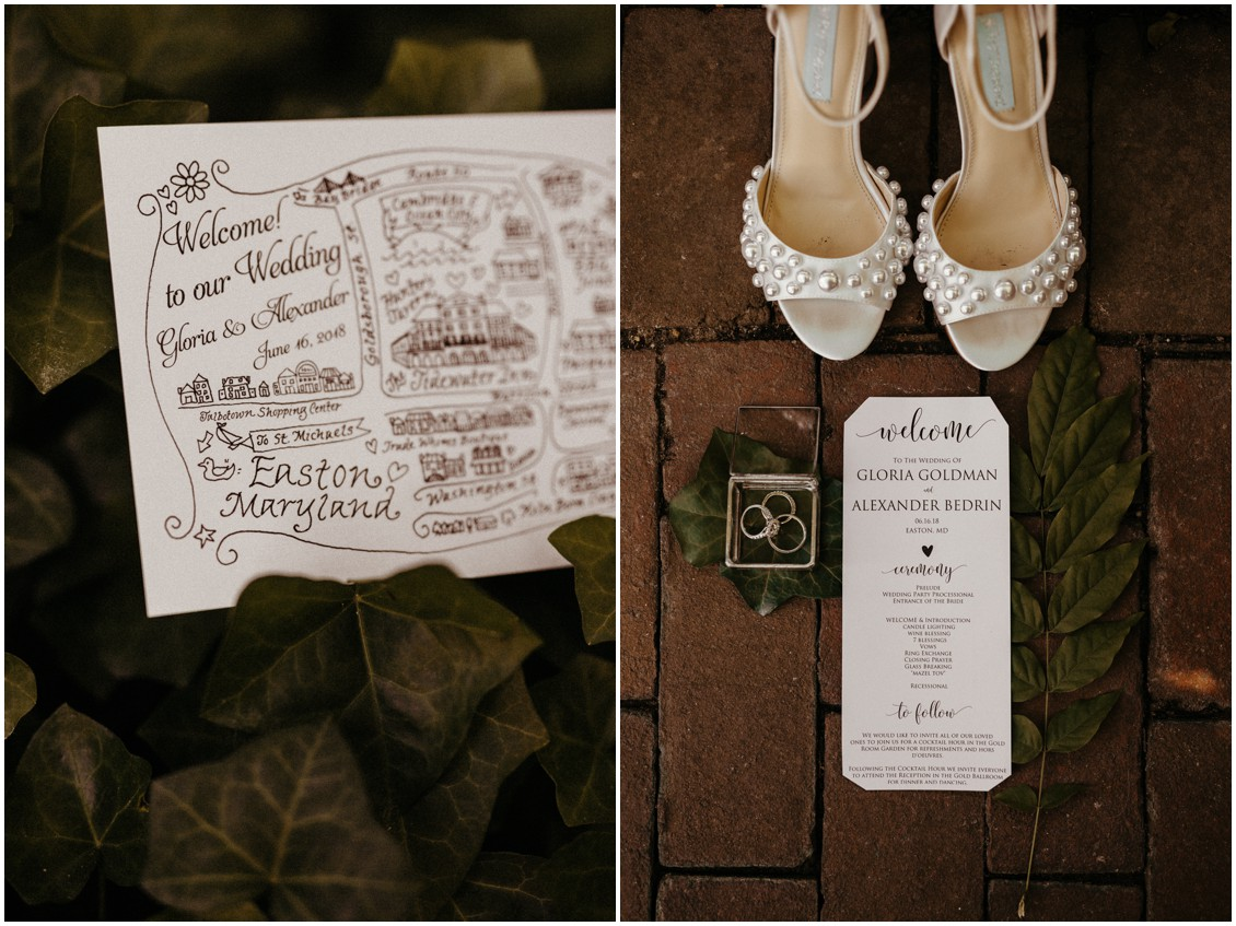 Welcome to our wedding stationery and white pearl heels. | My Eastern Shore Wedding |