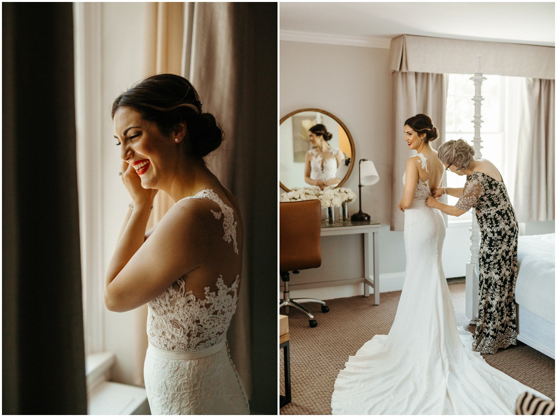 Mother of the bride helping the bride get ready. | My Eastern Shore Wedding |