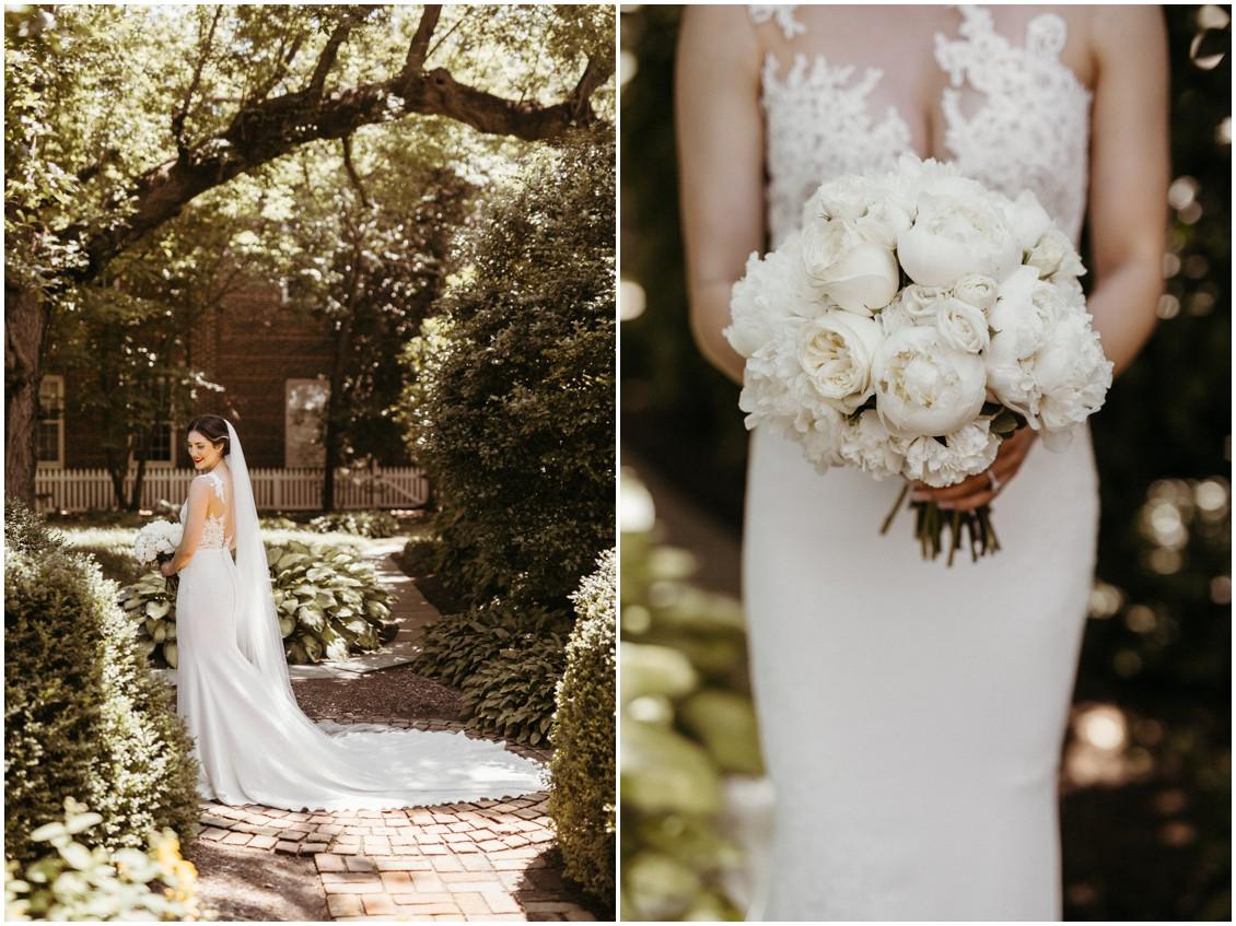 White peonies bouquet and Pronovias wedding dress. | My Eastern Shore Wedding |