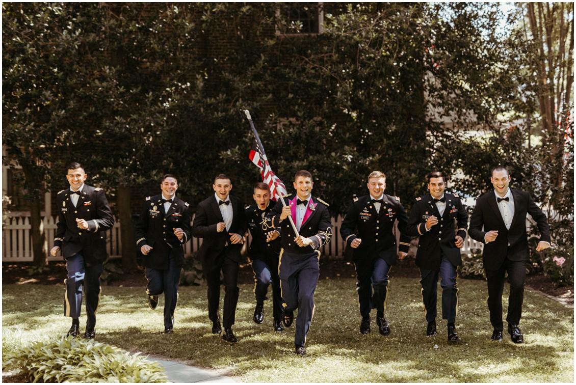 Army officers, American flag, groom and groomsmen. | My Eastern Shore Wedding |