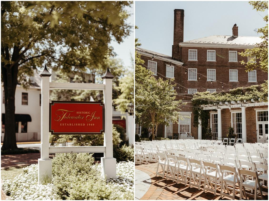 Tidewater Inn wedding, outside courtyard ceremony. | My Eastern Shore Wedding |