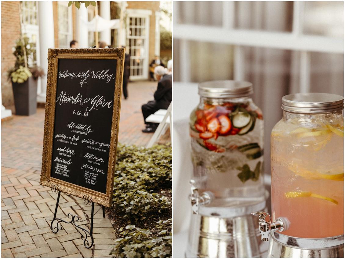 Wedding welcome sign, mason jar drink dispensers. | My Eastern Shore Wedding |